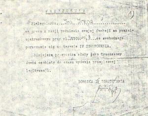 """Przepustka """"Iny"""" podpisana przez  Kazimierza Czaplę """"Gurta"""""""